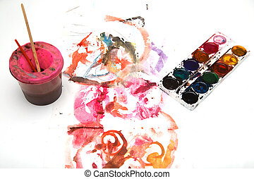 painting watercolor paint on white paper
