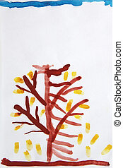 Painting watercolor tree with falling leaves in autumn. Nature drawn by child