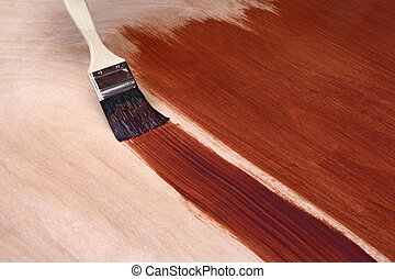 Painting with brown paint