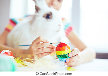 Painting with Easter rabbit
