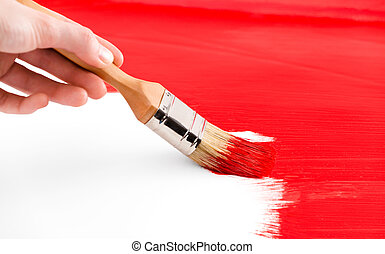Painting with red colored ink and brush