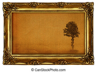 painting with tree - old painting with lonely tree motive,...