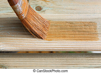Painting wooden brush