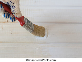painting wooden lining of pine