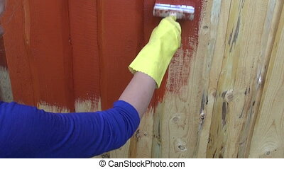 painting wooden plank  house