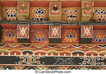 Painting work at the Dzong - Painting and wood work at the...