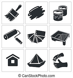 Painting work icon collection - Painting work icons set on a...