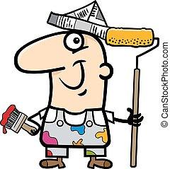 painting worker cartoon illustration
