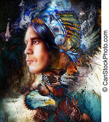 painting young indian warrior wearing a gorgeous feather...