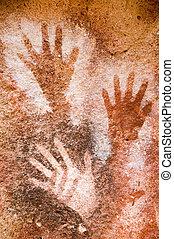 paintings., antiguo, cueva