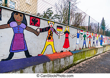 paintings on a school - on the wall of a school children ...