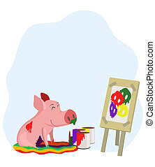 paints a picture of a pig