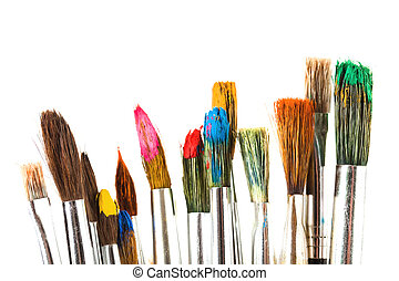 brush oil paints spread in composition