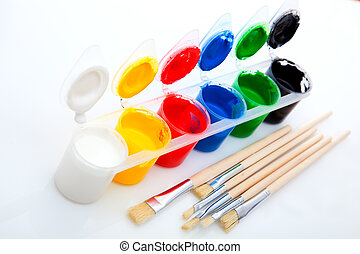 Paints and brushes, on White Background