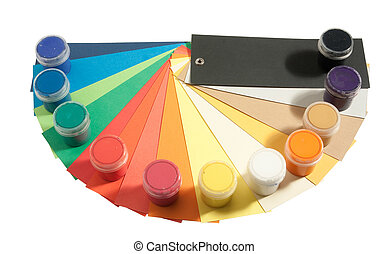 gouache paints and colored paper isolated on white