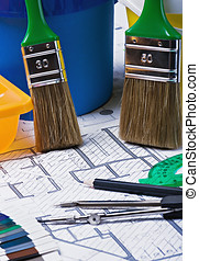 paints and paint repair on the architectural plan