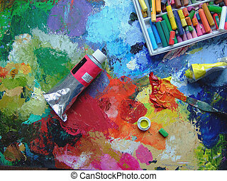 paints and palette of an artist