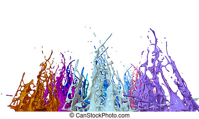 paints dance on white background. Simulation of 3d splashes of ink on a musical speaker that play music. beautiful splashes as a bright background in ultra high quality. 20