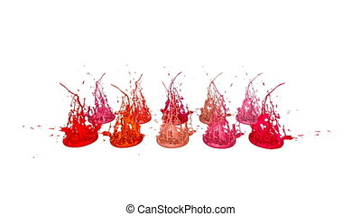 Paints dance on white background. Simulation of 3d splashes...