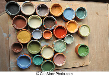 paints in pots