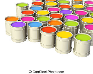 Paints - Multi-coloured paints in metal banks. Isolated over...