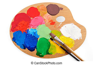 Paints - Paintbrushes on the palette with bright paints