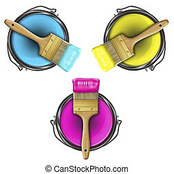 paints RGB - paints in buckets and brushes - colors CMYK