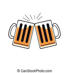 paio, birra, tazze