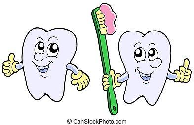 paio, di, cartone animato, denti