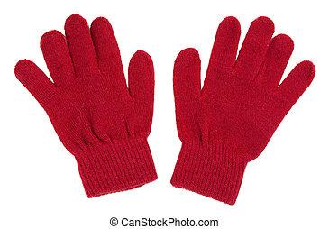 paio, guanti, rosso