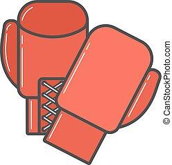 paio, guantoni da box, rosso, illustrazione