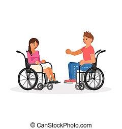 paio, invalido, carrozzella, persone