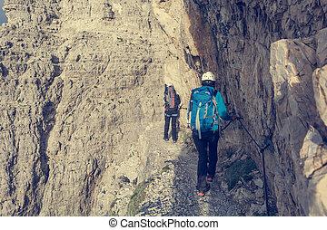 paio, ledge., camminare, stretta, arrampicatori