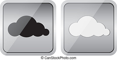 paio, lucido, nuvola, icone