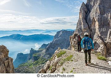 paio, montagna, camminare, path., montanari