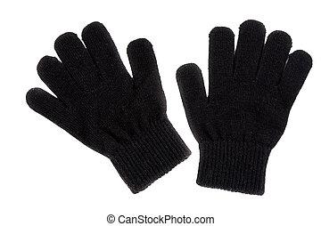 paio, nero, guanti