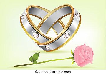 paio, rosa, anelli