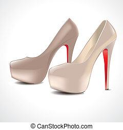 paio, scarpe, alto-high-heeled