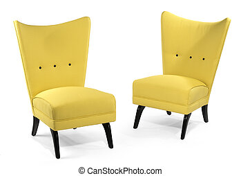 Pair bright yellow soft chairs isolated on white