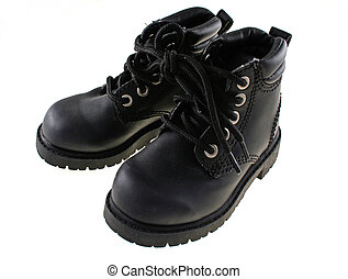 pair children boots - black pair of children boots