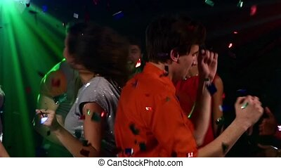 pair dancers in middle of the night club, Slow motion, Close up
