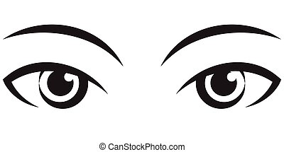pair female expressive eyes. Vector Icon