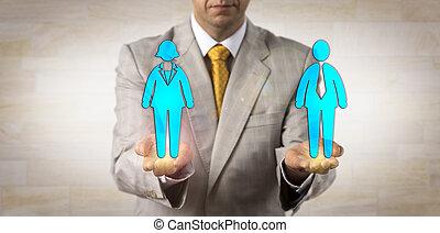 pair, femme, recruteur, homme, présentation