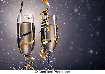Pair glass of champagne. celebration theme - Pair glass of...
