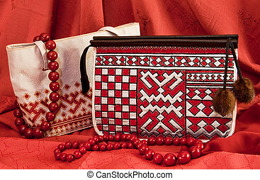 pair handbags - handbags with ornament in northern style on...