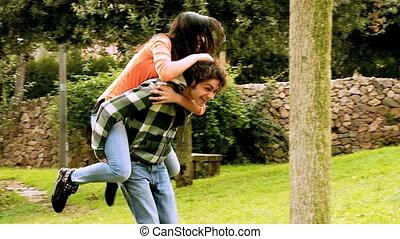 pair, heureux, amour, couple, jouer
