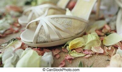 Pair high heels white bridal shoes