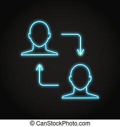 pair, icône, transaction, néon, style