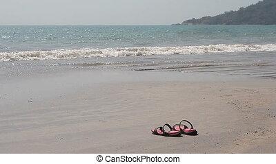 Flip Flops on a Sandy Beach - Pair if Flip Flops on a Sandy...