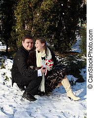 Pair in winter park